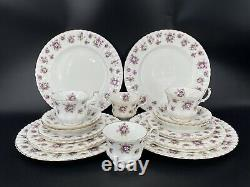 Royal Albert Sweet Violet 5 Piece Place Setting x 4 Bone China England 20 Pieces