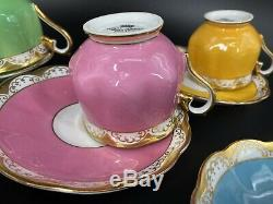 Royal Albert Tea Cup Saucer Sets of 5 Rainbow Green Yellow Blue Red Pink England