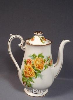 Royal Albert Yellow Tea Rose Bone China Coffee Cocoa Set Pot Vintage England