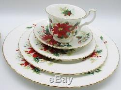 Royal Albert bone china Poinsettia service for 2 table setting 10 pcs England