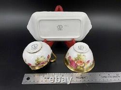 Royal Chelsea Golden Rose Creamer Sugar Bowl with Tray Set Bone China England
