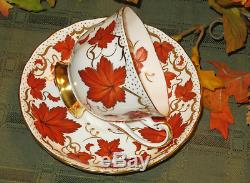 Royal Chelsea Teacups maple leaf / fall leaves Set of 3 Bone China England EUC