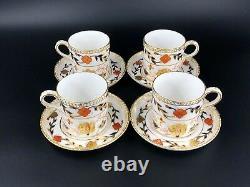 Royal Crown Derby Asian Rose Coffee Demitasse Set for 4 Bone China England