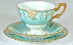 Royal Crown Derby Vine Tea cup Saucer Set Blue Gold England Vintage Teaset China
