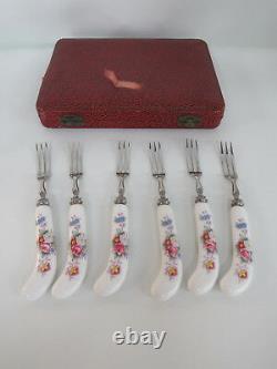 Royal Crown Derby Vintage China Box Set of Six Fruit Dessert Forks 082B