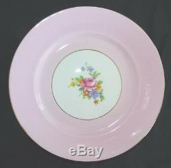 Royal Grafton England Set of 12 Salad Plates Bone China Pink & Floral with Gold