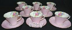 Royal Grafton England Set of 8 Cups & Saucers Bone China Pink & Floral with Gold