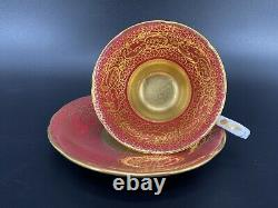 Royal Stafford 8306 Red Heavy Gold Tea Cup And Saucer Set Bone China England