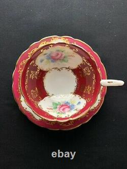 Royal Stafford 8521 Red Heavy Gold Tea Cup And Saucer Set Bone China England