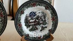 Royal Stafford Christmas Snow Village China Set for 6 18 pc. Made in England