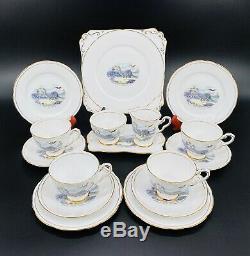 Royal Stafford Dinosaur Tea Set for 4 Cake Sugar Creamer Set Bone China England
