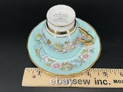 Royal Stafford Garland Blue Demitasse Coffee Cup Saucer Set Bone China England
