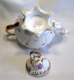 Royal Stafford Violets Pompadour Teapot Cream Sugar England Bone China Tea Set