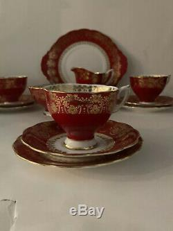 Royal Standard Vintage Red Bone China 15 Pcs Tea Set, 24k Gold Trim, England