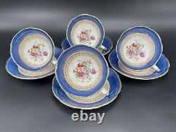 Royal Swansea Fortune Cobalt Blue Tea Cup Saucer Set x 4 Bone China England