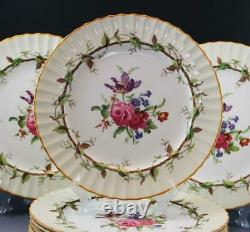 Royal Worcester England Florence Porcelain Bone China Set of 8 Dinner Plates