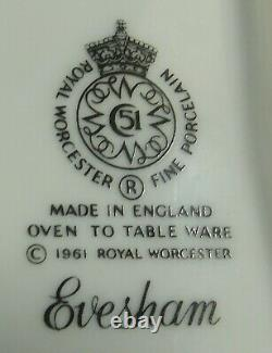 Royal Worcester Evesham Gold Fine China 3pc Canister Set Fruit Design ENGLAND