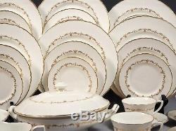 Royal Worcester Gold Chantilly Dinner set Plates Tureen Bowl England Bone China