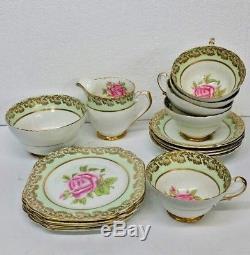 SET OF 15 PIECES STANLEY FINE BONE CHINA ENGLAND # 224/4 V Roses & Gold Trim NEW