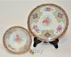 SHELLEY Bone China England RED GEORGIAN Pattern #13363 Set Footed Cup & Saucer
