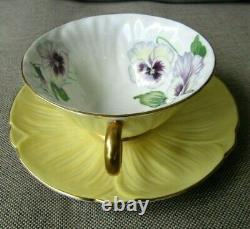 SHELLEY Pansy Yellow Oleander Teacup and Saucer Set England Bone China
