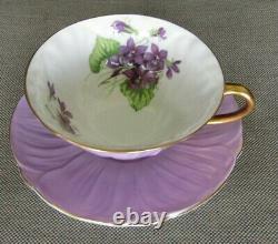 SHELLEY Violets Purple Oleander Teacup and Saucer Set England Bone China
