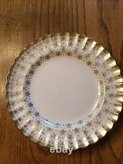 SPODE ENGLAND- FLEUR DE LYS GOLD DINNER PLATES SET Of 4 Y8063-C BONE CHINA New