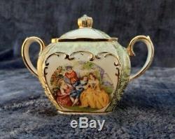 Sadler Cube Teapot Set Full Size Courting Couples James Sadler England China