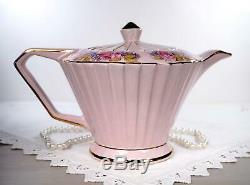 Sadler Deco Pink Pleated Teapot, Creamer, Sugar Set, England, Bone China, 1940s