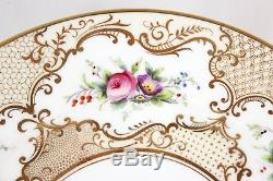 Set 10 Gilt Dinner Plates Antique Coalport Bone China England 6410 Gold Flowers