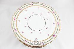 Set 10 Royal Cauldon England China K8627 Luncheon Plates Gilt Pink Rose Laurel