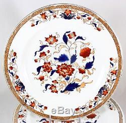 Set 12 Dinner Plates Wedgwood Bone China England X89i0 Imari Cobalt Blue Gold