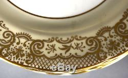 Set 12 Plates 8-3/16 Aynsley Bone China England Pink Rose Gold Lace Border 7805