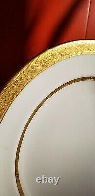 Set 12 Vintage Shelley Castle China England Porcelain Dinner Plates with Gold Trim