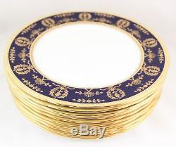 Set 4 Dinner Plates Aynsley China England 8225 Cobalt Blue Raised Gold Encrusted