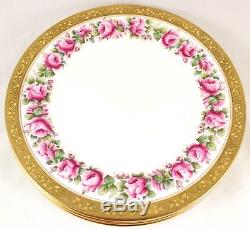 Set 4 Dinner Plates Pink Roses Raised Gold Encrusted Shelley China England 8236
