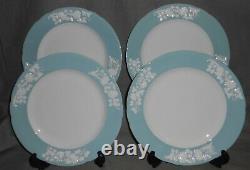Set (4) SPODE Bone China PRAIRIE FLOWER PATTERN Dinner Plates MADE IN ENGLAND