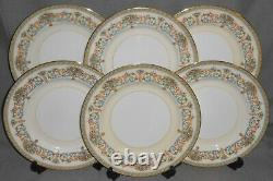 Set (6) AYNSLEY Bone China HENLEY PATTERN Dinner Plates MADE IN ENGLAND
