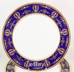 Set 6 Dinner Plate Aynsley China England 8225 Cobalt Blue Raised Gold Encrusted