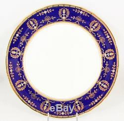 Set 6 Dinner Plates Aynsley China England 8225 Cobalt Blue Raised Gold Encrusted