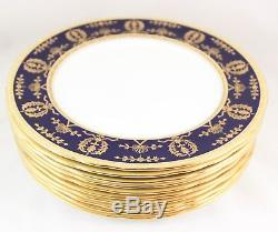 Set 6 Dinner Plates Aynsley China England 8225 Cobalt Blue Raised Gold Encrusted