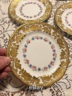 Set 7 Antique Ovington England Gilded China Dessert Plates Roses Blueberries