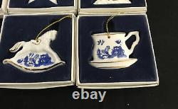 Set 7 Paul CARDEW BLUE WILLOW Porcelain Christmas ORNAMENTS Designed in England
