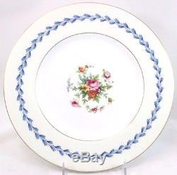 Set 8 Minton Bone China England S383 Dinner Plates Floral Blue Laurel Gold White