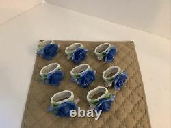 Set 8 Vtg Royal Albert England Bone China Midnight Rose Napkin Rings