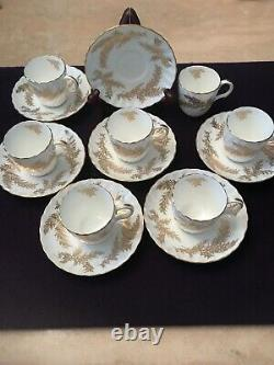 Set Minton GOLDEN FERN Expresso Cup & Saucer H-5022 Bone China Made In England
