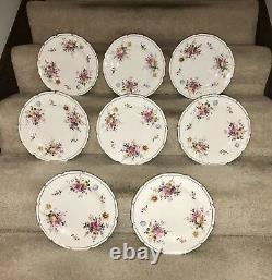 Set Of 8 Vintage ROYAL CROWN DERBY England Bone China Floral Dinner Plates