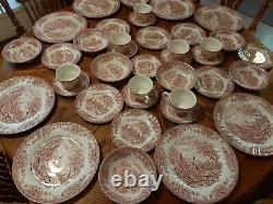 Set Of Red/pink Willow Dinnerware China, Churchhill, England, Service For 8
