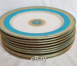 Set of 10 Minton Decorative China Dinner Plates Cobalt White Gold Gilt England