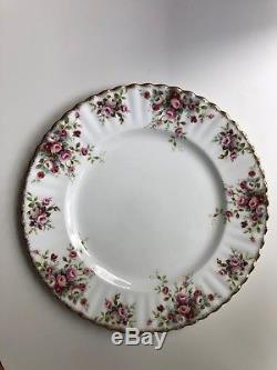 Set of 10 Plates Royal Albert Cottage Garden England Bone China Pink Roses Gold